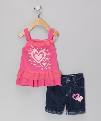 Pink Glitter Heart Mesh Ruffle Dress & Jean Shorts - Infant