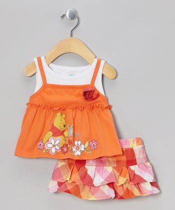 Orange Winnie the Pooh Flower Tank & Ruffle Skort - Infant