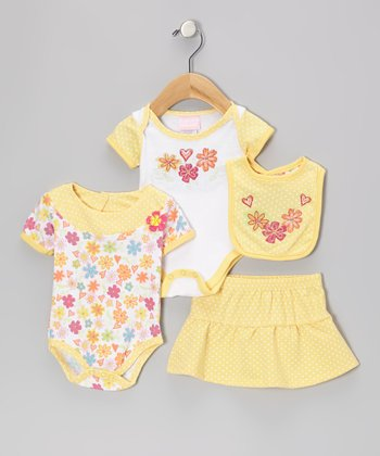 Yellow Daisy Bodysuit Set - Infant