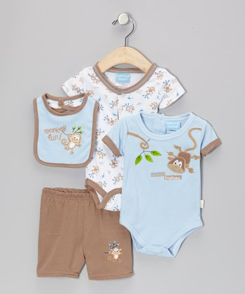 Blue & Brown 'Monkey Business' Bodysuit Set - Infant