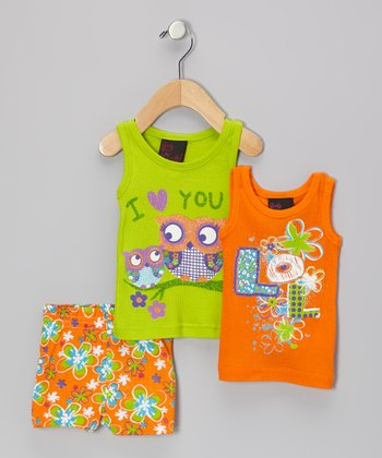 Green & Orange Flower Owl Tank Set - Infant
