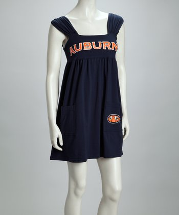 Navy Blue & Orange Auburn Babydoll Dress - Women