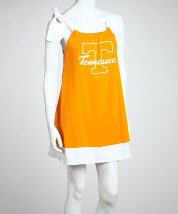 Orange & White Tennessee Tie Dress - Women