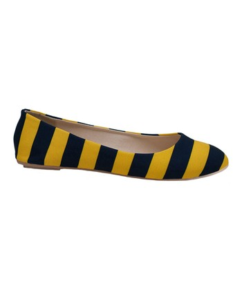 Maize & Dark Blue Game Day Stripe Ballet Flat - Women