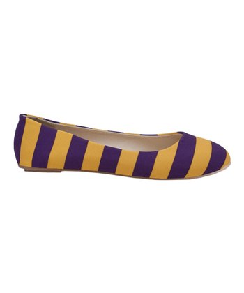 Purple & Bright Gold Game Day Stripe Ballet Flat - Women