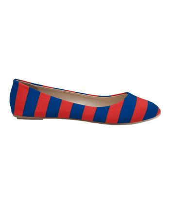 Orange & Royal Blue Game Day Stripe Ballet Flat - Women