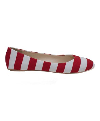 Red & White Game Day Stripe Ballet Flat - Women