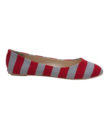 Scarlet & Gray Game Day Stripe Ballet Flat - Women