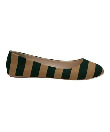 Green & Vegas Gold Game Day Stripe Ballet Flat - Women