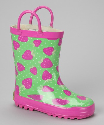 Pink & Green Strawberry Rain Boot