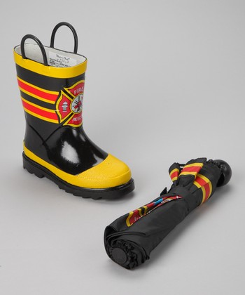 Black 'Fire Rescue' Rain Boot & Umbrella