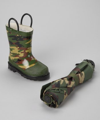Olive Camo Rain Boot & Umbrella