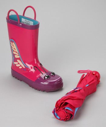 Pink Butterfly Rain Boot & Umbrella