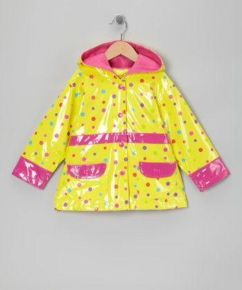 Yellow Big Ditsy Fleece-Lined Raincoat - Toddler & Girls