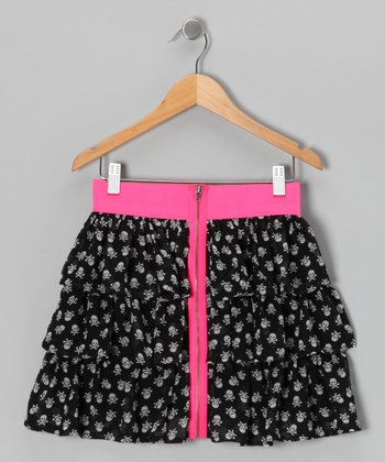 Black & Pink Dusty Skull Ruffle Tier Skirt - Girls