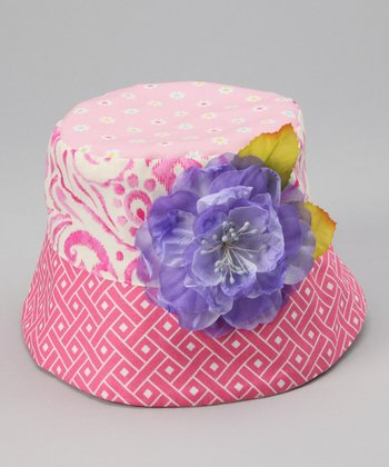 Pink Flower Lizzie Bucket Hat