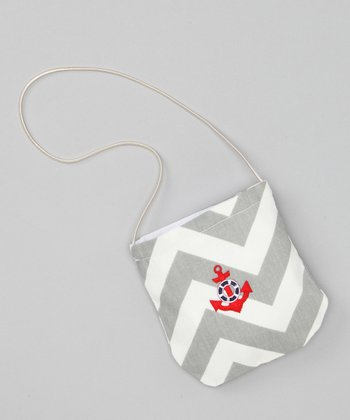 Gray Chevron Anchor Petit Purse