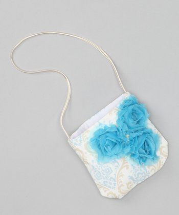 Blue & Khaki Damask Rose Petit Purse