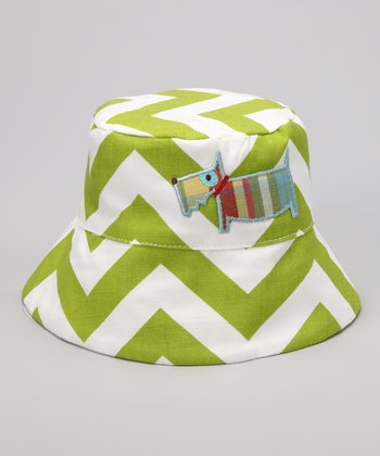 Lime & Blue Chevron Dog Bucket Hat
