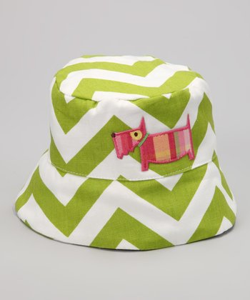 Lime Chevron Dog Bucket Hat