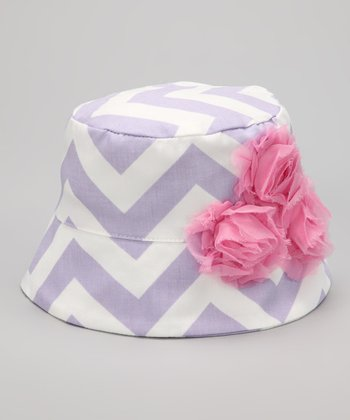 Lilac Chevron Rose Bucket Hat
