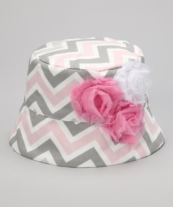 Pink & Gray Chevron Rose Bucket Hat