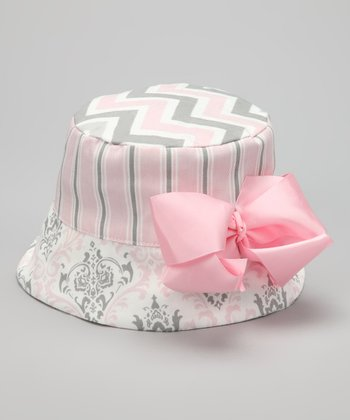 Pink & Gray Bow Bucket Hat