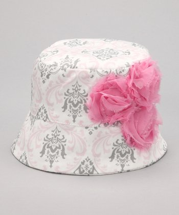 Pink & Gray French Damask Rose Bucket Hat