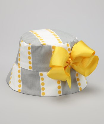 Gray & Yellow Stripe Bow Bucket Hat