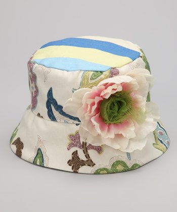 Ivory & Blue Julie Bucket Hat