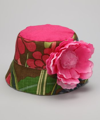 Raspberry & Brown Whitney Bucket Hat