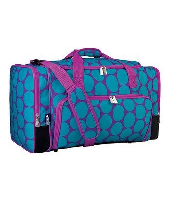 Aqua Big Dot Weekender Duffel Bag