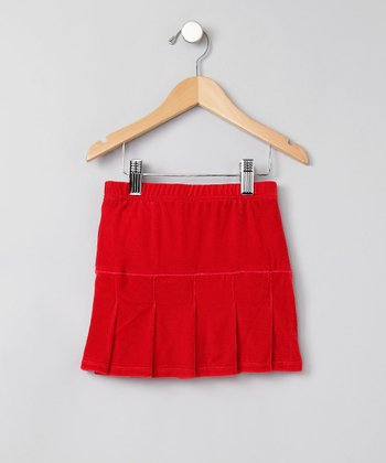 Red Velour Pleated Skirt - Girls