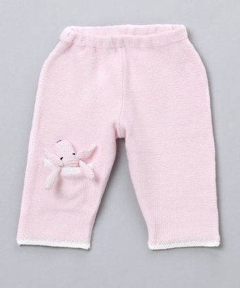 Pink Knit Pants with Finger Puppet - Infant