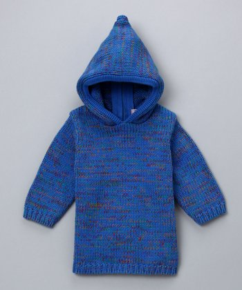 Blue Large-Gauge Hooded Sweater