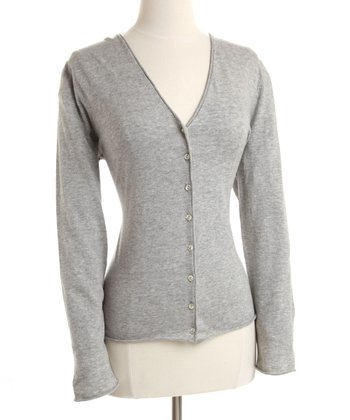Gray V-Neck Sweater-Knit Cardigan