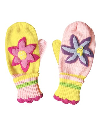 Yellow & Pink Lotus Mittens