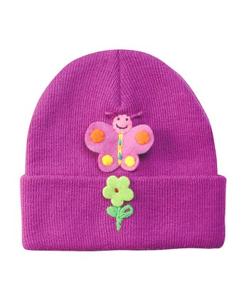 Purple Butterfly Beanie