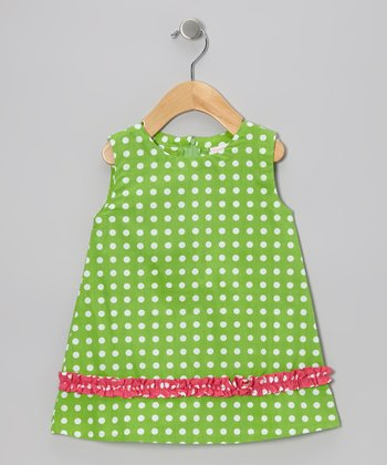 Lime Green Polka Dot Dina Swing Dress - Infant & Toddler
