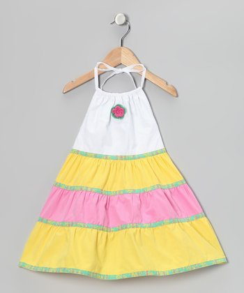 Yellow & White Flower Tiered Halter Dress - Toddler & Girls