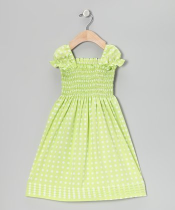 Apple Green Polka Dot Smocked Dress - Infant, Toddler & Girls