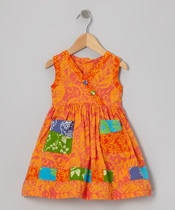 Orange Patchwork Surplice Dress - Infant, Toddler & Girls