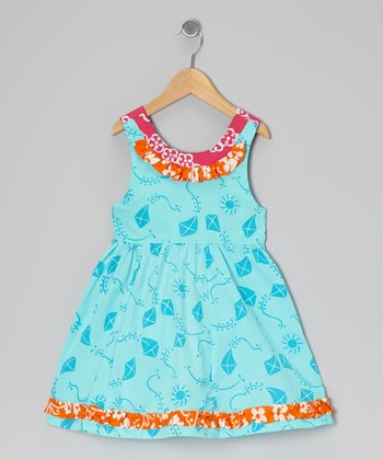 Turquoise Kite Ruffle Dress - Toddler & Girls