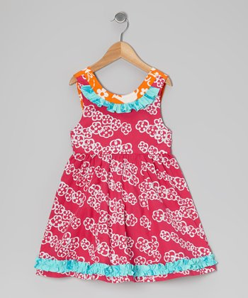 Dark Pink Floral Ruffle Dress - Toddler & Girls