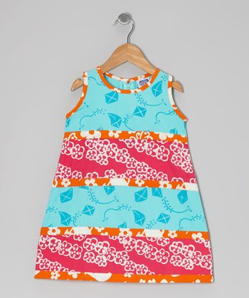 Turquoise & Dark Pink Tiered Swing Dress - Infant, Toddler & Girls