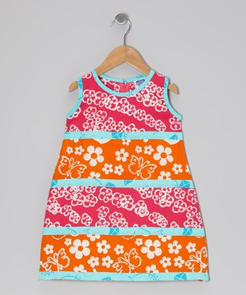 Dark Pink & Orange Tiered Swing Dress - Infant, Toddler & Girls