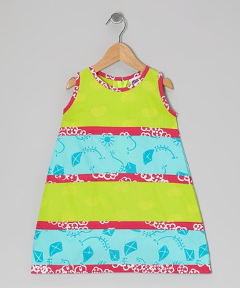 Lime Green & Turquoise Tier Swing Dress - Infant, Toddler & Girls
