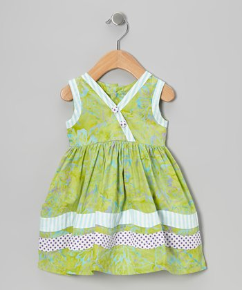 Lime Green Rick Rack Surplice Dress - Infant, Toddler & Girls