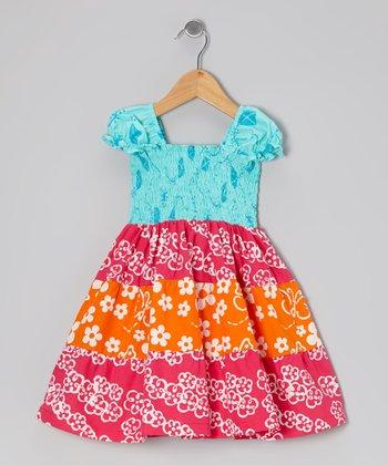 Turquoise & Dark Pink Shirred Tiered Dress - Toddler & Girls