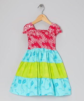 Dark Pink & Turquoise Shirred Tiered Dress - Toddler & Girls